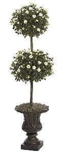 Artificial Topiary Trees, Flower Topiary, 4 feet   Mini Rose Double Ball Topiary